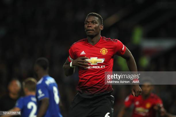 Paul Pogba of Manchester United during the Premier League match between Manchester United and Leicester City at Old Trafford on August 10 2018 in...