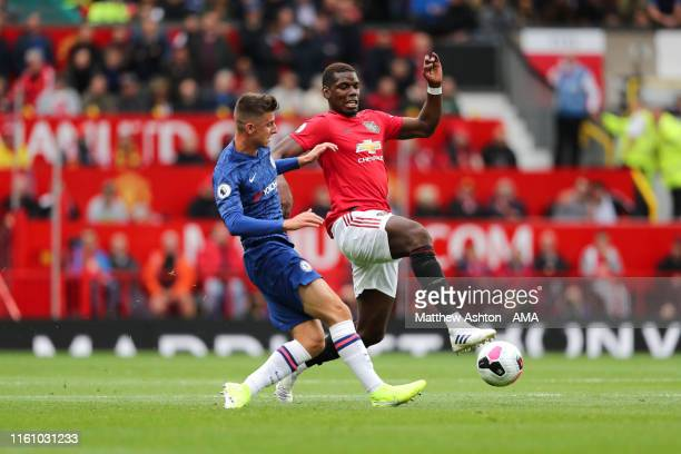 Paul Pogba of Manchester United during the Premier League match between Manchester United and Chelsea FC at Old Trafford on August 11 2019 in...