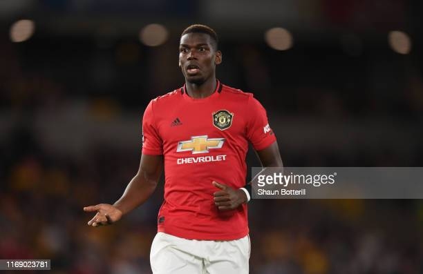 Paul Pogba of Manchester United during the Premier League match between Wolverhampton Wanderers and Manchester United at Molineux on August 19 2019...