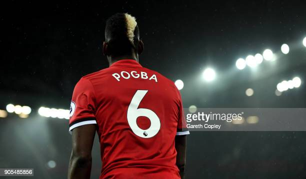 Paul Pogba of Manchester United during the Premier League match between Manchester United and Stoke City at Old Trafford on January 15 2018 in...