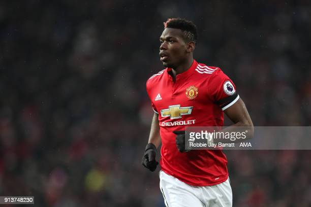 Paul Pogba of Manchester United during the Premier League match between Manchester United and Huddersfield Town at Old Trafford on February 3 2018 in...