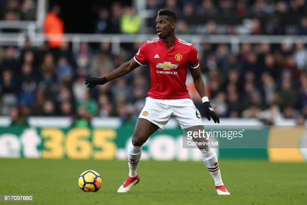 Paul Pogba of Manchester United during the Premier League match between Newcastle United and Manchester United at St James Park on February 11 2018...
