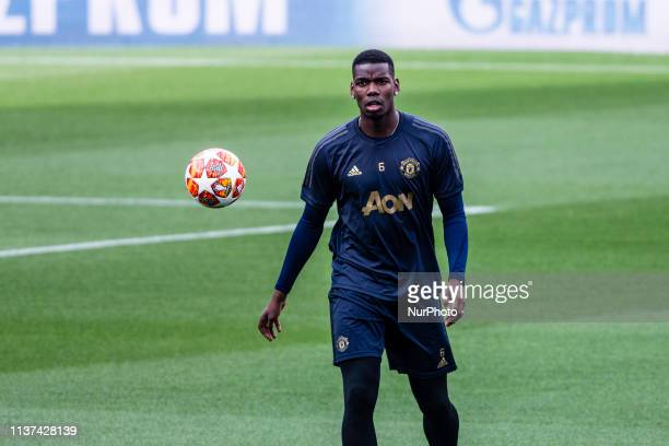 06 Paul Pogba of Manchester United during the training session before the second leg Champions League match of Quarter final between FC Barcelona and...