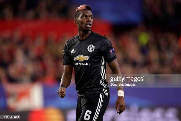 Paul Pogba of Manchester United during the UEFA Champions League match between Sevilla v Manchester United at the Estadio Ramon Sanchez Pizjuan on...