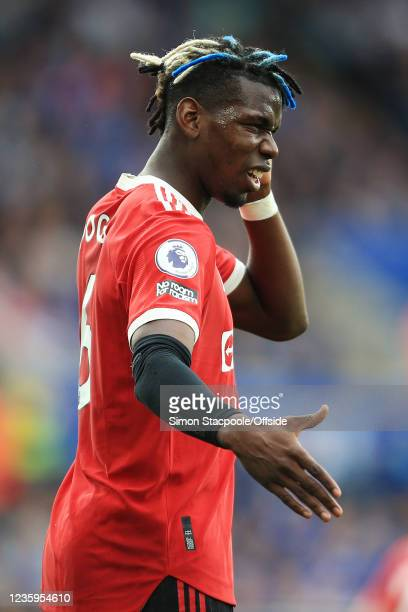 Paul Pogba of Manchester United gestures during the Premier League match between Leicester City and Manchester United at The King Power Stadium on...