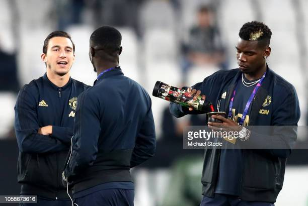 Paul Pogba of Manchester United has a drink on the pitch prior to the UEFA Champions League Group H match between Juventus and Manchester United at...