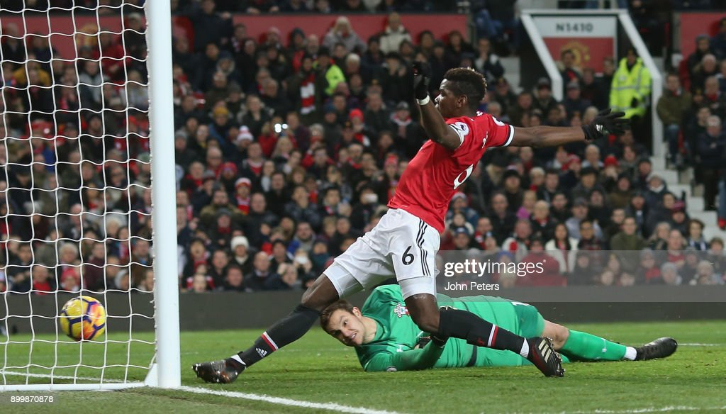 Paul Pogba of Manchester United has a goal ruled out for offside during the Premier League match between Manchester United and Southampton at Old Trafford on December 30, 2017 in Manchester, England.
