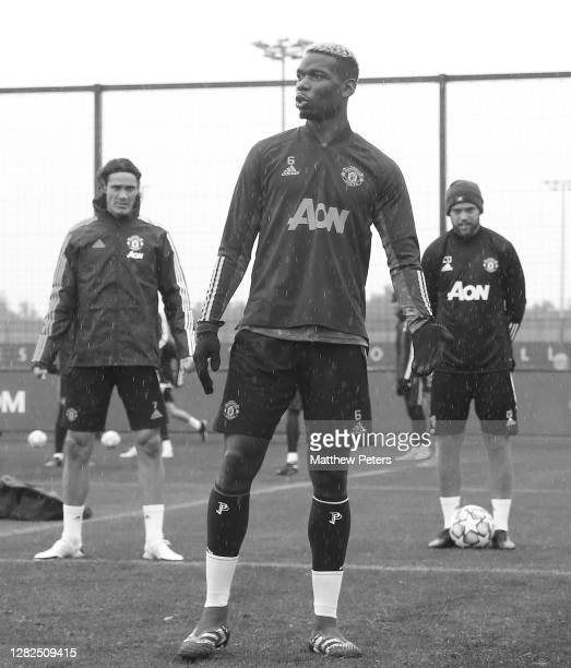 Paul Pogba of Manchester United in action during a first team training session ahead of the UEFA Champions League Group H stage match between...