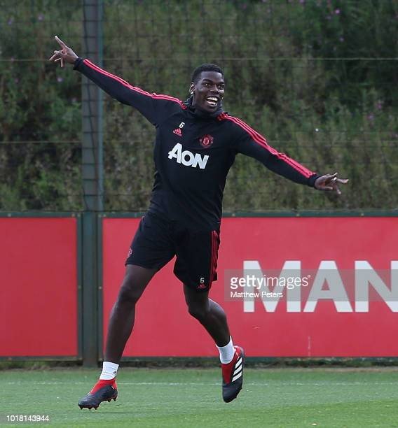 Paul Pogba of Manchester United in action during a first team training session at Aon Training Complex on August 17 2018 in Manchester England