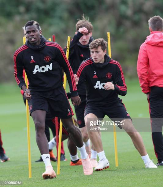 Paul Pogba of Manchester United in action during a first team training session at Aon Training Complex on September 26 2018 in Manchester England
