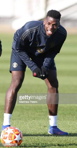 Paul Pogba of Manchester United in action during a first team training session at Aon Training Complex on February 11 2019 in Manchester England