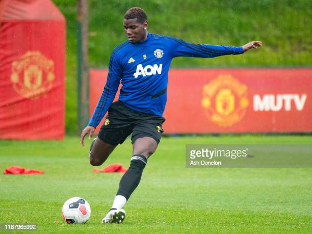 Paul Pogba of Manchester United in action during a first team training session at Aon Training Complex on August 14 2019 in Manchester England