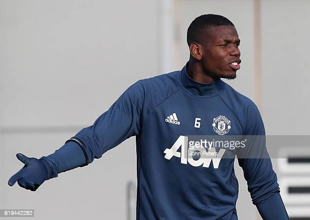 Paul Pogba of Manchester United in action during a first team training session at Aon Training Complex on October 31 2016 in Manchester England