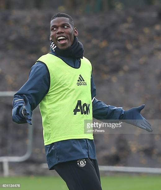 Paul Pogba of Manchester United in action during a first team training session at Aon Training Complex on November 18 2016 in Manchester England