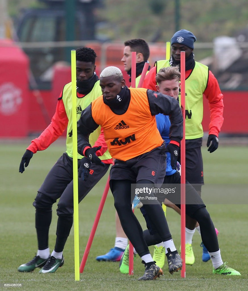 Paul Pogba of Manchester United in action during a first team training session at Aon Training Complex on February 15, 2017 in Manchester, England.