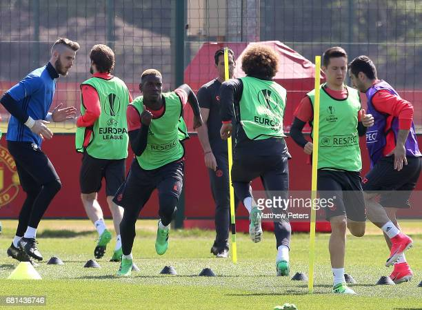 Paul Pogba of Manchester United in action during a first team training session at Aon Training Complex on May 10 2017 in Manchester England