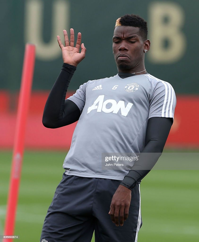 Paul Pogba of Manchester United in action during a first team training session at Aon Training Complex on August 22, 2017 in Manchester, England.