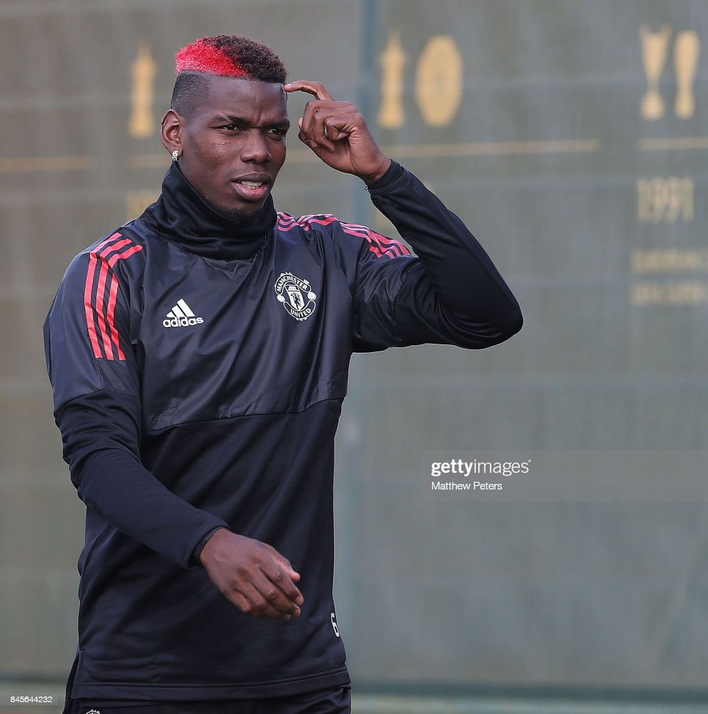 Paul Pogba of Manchester United in action during a first team training session at Aon Training Complex on September 11, 2017 in Manchester, England.