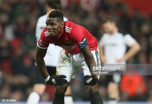 Paul Pogba of Manchester United in action during the Emirates FA Cup Third Round match between Manchester United and Derby County at Old Trafford on...