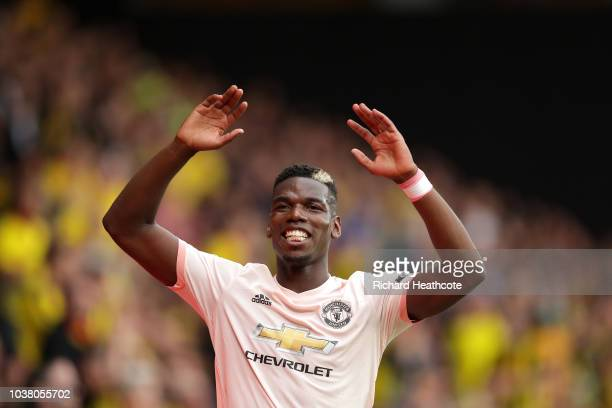 Paul Pogba of Manchester United in action during the Premier League match between Watford FC and Manchester United at Vicarage Road on September 15...
