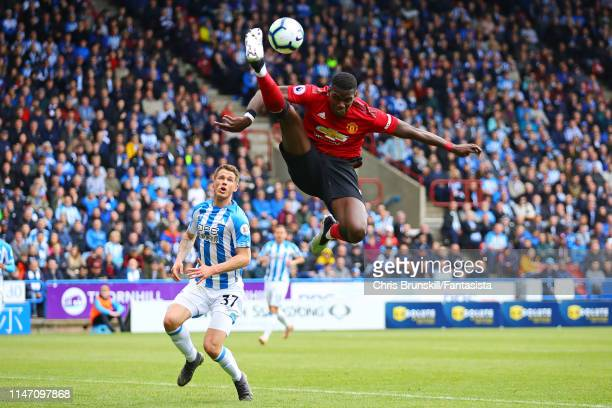 Paul Pogba of Manchester United in action during the Premier League match between Huddersfield Town and Manchester United at John Smith's Stadium on...