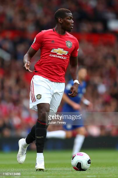 Paul Pogba of Manchester United in action during the Premier League match between Manchester United and Chelsea FC at Old Trafford on August 11 2019...