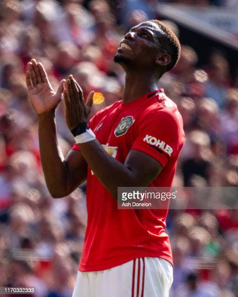 Paul Pogba of Manchester United in action during the Premier League match between Manchester United and Crystal Palace at Old Trafford on August 24...