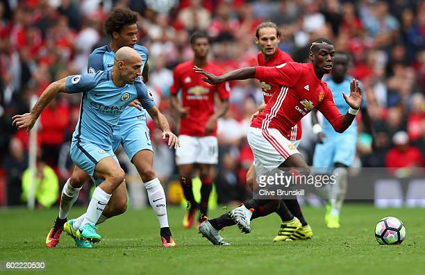 Paul Pogba of Manchester United in action during the Premier League match between Manchester United and Manchester City at Old Trafford on September...