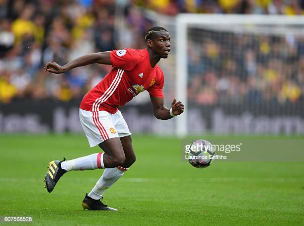 Paul Pogba of Manchester United in action during the Premier League match between Watford and Manchester United at Vicarage Road on September 18 2016...