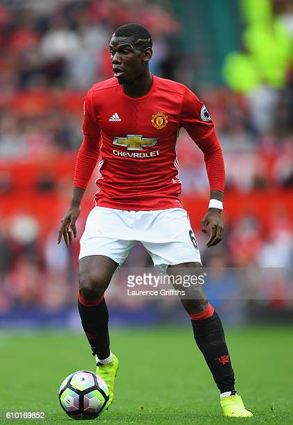 Paul Pogba of Manchester United in action during the Premier League match between Manchester United and Leicester City at Old Trafford on September...
