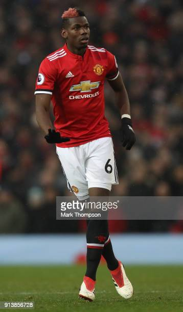 Paul Pogba of Manchester United in action during the Premier League match between Manchester United and Huddersfield Town at Old Trafford on February...