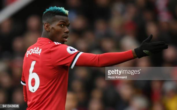 Paul Pogba of Manchester United in action during the Premier League match between Manchester United and Swansea City at Old Trafford on March 31 2018...