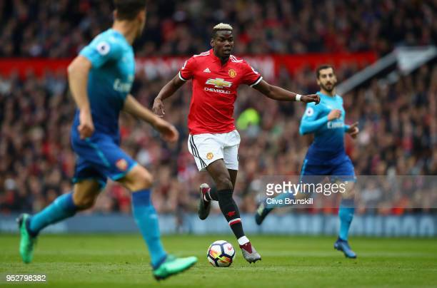 Paul Pogba of Manchester United in action during the Premier League match between Manchester United and Arsenal at Old Trafford on April 29 2018 in...