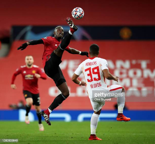 Paul Pogba of Manchester United in action during the UEFA Champions League Group H stage match between Manchester United and RB Leipzig at Old...