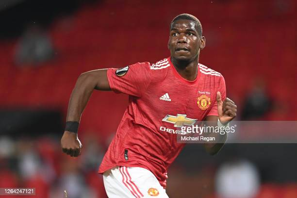 Paul Pogba of Manchester United in action during the UEFA Europa League round of 16 second leg match between Manchester United and LASK at Old...