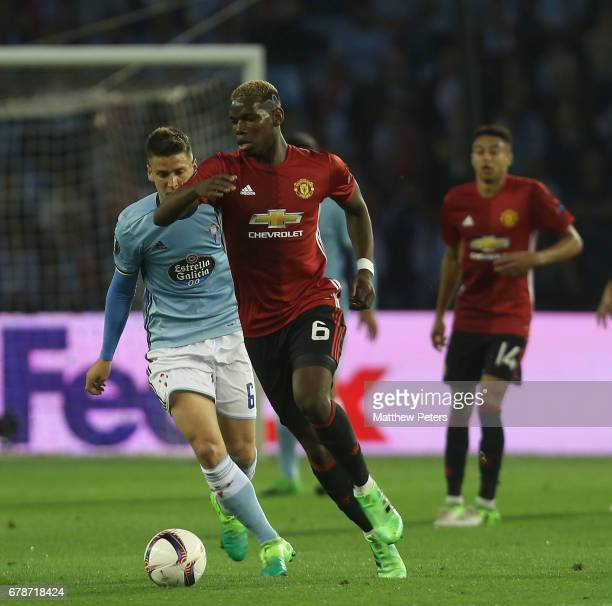 Paul Pogba of Manchester United in action during the UEFA Europa League semifinal first leg match between Celta Vigo and Manchester United at Estadio...