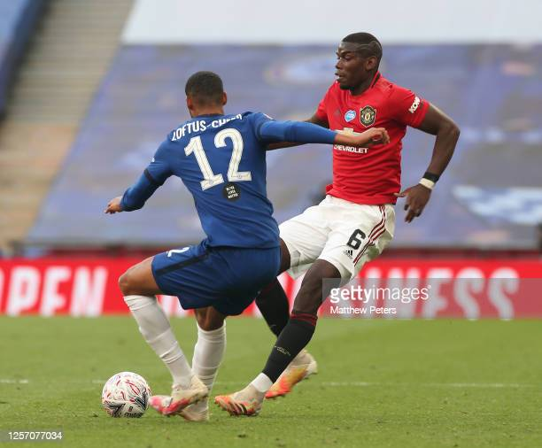 Paul Pogba of Manchester United in action with Ruben LoftusCheek of Chelsea during the FA Cup Semi Final match between Manchester United and Chelsea...