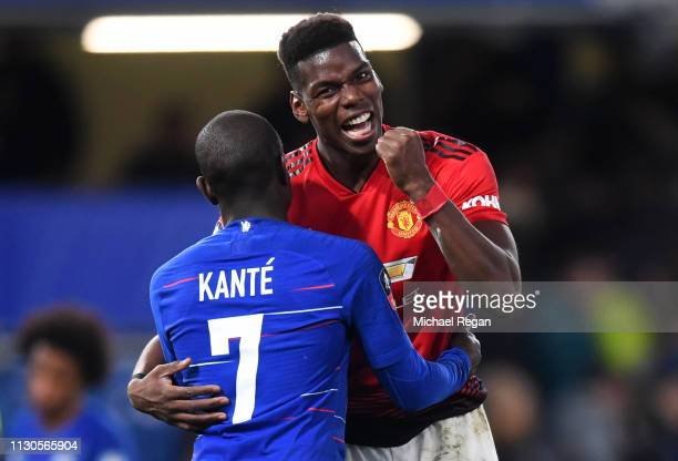 Paul Pogba of Manchester United jokes with N'golo Kante of Chelsea after the FA Cup Fifth Round match between Chelsea and Manchester United at...