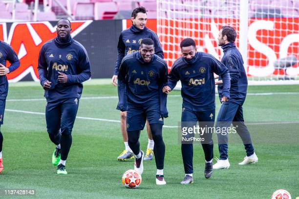 06 Paul Pogba of Manchester United joking with 11 Anthony Martial of Manchester United during the training session before the second leg Champions...