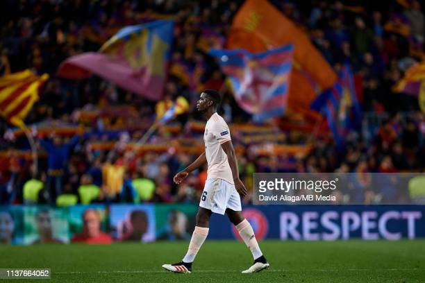 Paul Pogba of Manchester United leaves the pitch after losing the UEFA Champions League Quarter Final second leg match between FC Barcelona and...