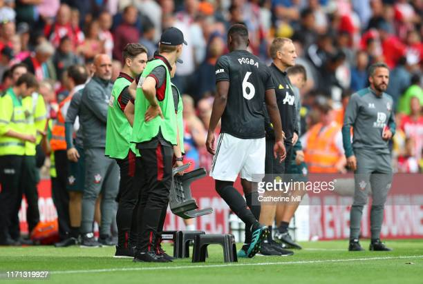 Paul Pogba of Manchester United leaves the pitch after the Premier League match between Southampton FC and Manchester United at St Mary's Stadium on...