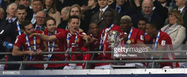 Paul Pogba of Manchester United lifts the EFL Cup after the EFL Cup Final match between Manchester United and Southampton at Wembley Stadium on...