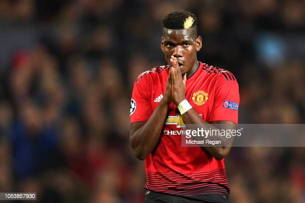 Paul Pogba of Manchester United looks dejected after hitting the post during the Group H match of the UEFA Champions League between Manchester United...