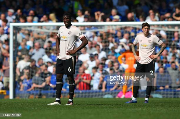 Paul Pogba of Manchester United looks dejected during the Premier League match between Everton FC and Manchester United at Goodison Park on April 21...