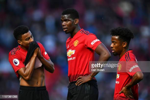 Paul Pogba of Manchester United looks dejected during the Premier League match between Manchester United and Cardiff City at Old Trafford on May 12...