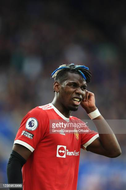 Paul Pogba of Manchester United looks dejected during the Premier League match between Leicester City and Manchester United at The King Power Stadium...