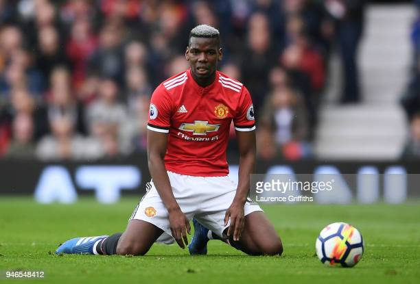Paul Pogba of Manchester United looks dejected during the Premier League match between Manchester United and West Bromwich Albion at Old Trafford on...