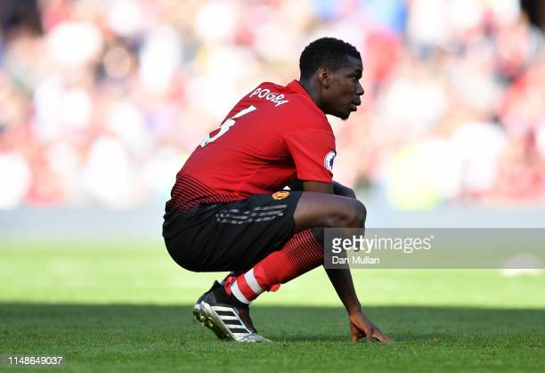 Paul Pogba of Manchester United looks dejected following his side's defeat during the Premier League match between Manchester United and Cardiff City...