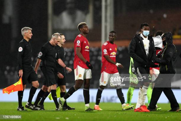 Paul Pogba of Manchester United looks on after the Premier League match between Fulham and Manchester United at Craven Cottage on January 20, 2021 in...