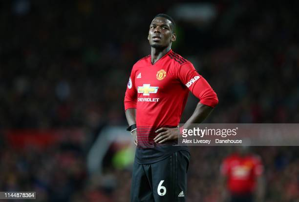 Paul Pogba of Manchester United looks on during the Premier League match between Manchester United and Manchester City at Old Trafford on April 24...